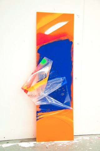 Graffiti Stick, 2014, spray, plastic on perspex, 100 x 30 x 2 cm