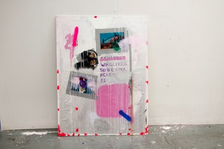 Feminist (Live Combine II), 2014, foil, tape, acrylic, spray, paper, marker, chain on wood, 120 x 70 x (X)