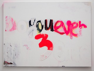 Do You Ever 3ome? (Bootycall, J), 2014, acrylic, spray, glitter, fabric on wood, 80 x 100 x 3 cm